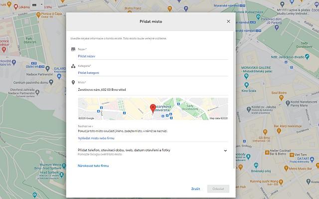 firemní profil na google mapách